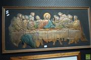Sale 8530 - Lot 2052 - Pressed Copper Wall Hanging of The Last Supper, 42 x 80cm