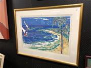 Sale 8833 - Lot 2077 - Yvonne T - Beach Scene screenprint, 71 x 93cm, signed