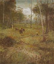 Sale 9067 - Lot 562 - Lance Solomon (1913 - 1989) - Finding Lost Cattle 58 x 48.5 cm (frame: 78 x 69 x 4 cm)