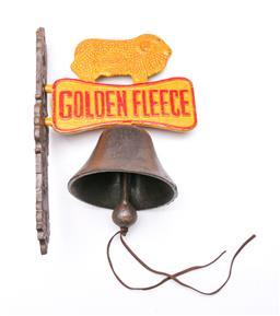 Sale 9114 - Lot 81 - Cast iron reproduction Golden Fleece themed doorbell (l:32cm)