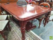 Sale 8428 - Lot 1075 - Victorian Style Mahogany Extension Dining Table, with single leaf, turned legs & winder