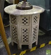 Sale 8472 - Lot 1012 - Pair of Carved Painted Timber Side Tables
