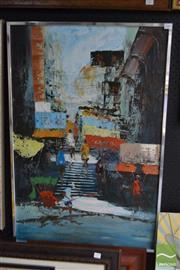 Sale 8506 - Lot 2038 - Tom Wong - City Scene 88.5 x 58.5cm