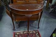 Sale 8542 - Lot 1037 - Timber Demi Lune Hall Table on Cabriole Legs