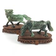 Sale 8545N - Lot 68 - Pair of Green Stone Horse Carvings on Stands (L: 20cm)