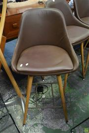 Sale 8550 - Lot 1090 - Set of Three Leather Clad Barstools over Timber Bases