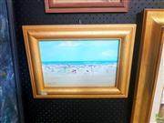 Sale 8640 - Lot 2048 - Donald Fraser - Beach Scene, oil on board, signed lower left