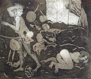 Sale 8655A - Lot 5040 - Paul Ashton Delprat (1942 - ) - Trouble in a Tavern, 1978 46.5 x 49.5cm (sheet size)