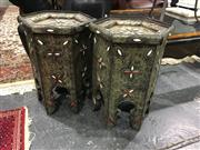 Sale 8795 - Lot 1025 - Pair of Hexagonal Top Side Tables
