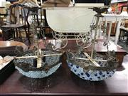 Sale 8822 - Lot 1560 - Pair of Brass and Glass Hanging Light Fittings - 202