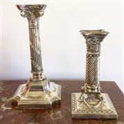 Sale 8878T - Lot 82 - Henry Wilkinson & Co Silver Plate Corinthium Column Candle Stick and Another Similar ExampleHeight of Tallest - 23cm, Height of sho...