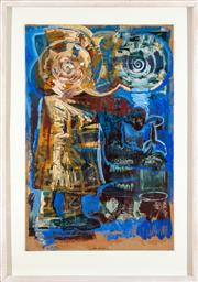 Sale 9023H - Lot 85 - IAN SMITH  The Anachronist with still life  mixed media on paper, Signed & dated Lower right 27.05.87 Image size 75 x 50cm (fra...