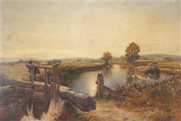 Sale 9067 - Lot 553 - Charles Richardson (1853-1932) - Crossing A Dam, 1873 35.5 X 53 cm (frame: 58 x 74 x 3 cm)
