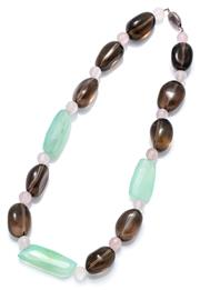 Sale 9095 - Lot 321 - A QUARTZ BEAD NECKLACE; freeform smoky quartz beads and 28-36mm long faceted chalcedony beads with 8mm round faceted rose quartz bea...