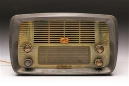 Sale 9114 - Lot 20 - HMV Radio - slight damage to front - needs rewiring (H:20cm W:33cm D:15cm)