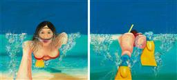 Sale 9174JM - Lot 5072 - PETER HALES (2 works) Ocean Find & Ocean Search (diptych) oil on canvas 72 x 79 cm, each (frames: 94 x 101 x 5 cm each) signed lower...