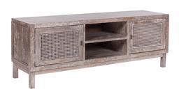Sale 9250T - Lot 99 - A fruitwood entertainment unit with bird eye webbing in grey wash. Height 55cm x Width 150cm x Depth 40cm