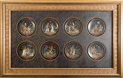 Sale 8338A - Lot 79 - A set of eight Egyptian scene framed collectors plates, in faux crocodile mount and gilt frame, total size 98 x 157cm