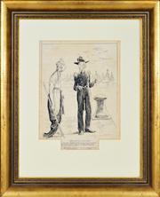 Sale 8363 - Lot 525 - Norman Lindsay (1879 - 1969) - Dont do as I do - Do as I say 39 x 31cm