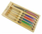 Sale 8372A - Lot 60 - Laguiole by Andre Aubrac 6-Piece Steak Knife Set w Multi Coloured Handles RRP $70