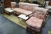 Sale 8390 - Lot 1112 - Three Piece Lounge Setting incl. Three Seater & Two Armchairs on Cabriole Legs