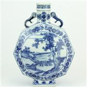Sale 8413 - Lot 12 - Bajiao Blue & White Chinese Flask