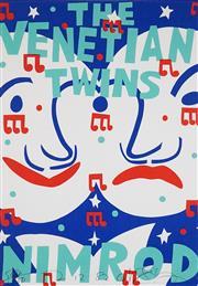 Sale 8566 - Lot 1018 - Martin Sharp (1942 - 2013) - The Venetian Twins, Nimrod, 1982 100 x 69cm (frame size: 127 x 96cm)
