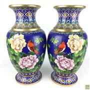 Sale 8589R - Lot 25 - True Pair of Cloissone Vases depicting Flowers (H: 38cm)