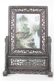Sale 8581 - Lot 88 - Village Scene Plaque On Stand, Marked
