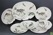 Sale 8626 - Lot 26 - Johnson Bros Fish Plates, 5 Different Designs (Dia:26cm) And Platter (L:40cm)
