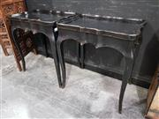 Sale 8676 - Lot 1003 - Pair of Black Trays on Stands