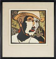 Sale 8811 - Lot 2027 - Christine Mary Hiller (1948 - ) - Self Portrait in Pines, 1988 30 x 30cm