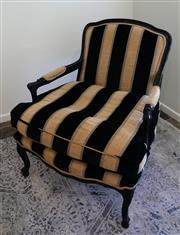 Sale 8858H - Lot 94 - Louis Style Antique Armchair in Black Velvet and Gold Brocade, H 88 x W 70 x D 60 cm -