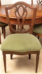 Sale 8976H - Lot 46 - A set of Five 18th century style continental beech shield back chairs with green velvet seats. Height of back 97cm