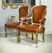Sale 9087H - Lot 88 - A fine pair of early French armchairs with distressed gilt finish frames and aged leather upholstery 94T x 67 W x 47 cm seat height