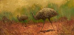 Sale 9099A - Lot 5001 - Colleen Parker (1944 - 2008) - Emu & Chick 14 x 29 cm (frame: 24 x 43 x 3 cm)