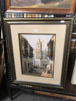 Sale 9147 - Lot 2048 - Artist Unknown (C20th) C19th Latin Town Scene oil on canvas, 64 x 53 cm (frame) signed lower right