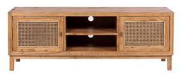 Sale 9250T - Lot 100 - A fruitwood entertainment unit with bird eye webbing in tobacco. Height 55cm x Width 150cm x Depth 40cm