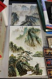 Sale 8308 - Lot 76 - Large Hand Painted Porcelain Plaques with Mountain Scenes (2)