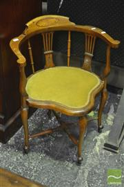 Sale 8345 - Lot 1096 - Pair of Late Victorian Inlaid Corner Armchairs, with pierced splats & stretcher base.