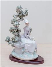 Sale 8430 - Lot 42 - A Lladró figure of a young lady feeding birds