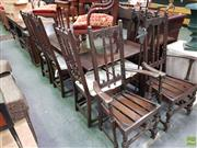 Sale 8601 - Lot 1435 - Ercol Elm Extension Table & Eight Highback Chairs incl Carvers