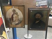 Sale 8707 - Lot 2035 - (2 works): Artist Unknown Virgin Mother and Christ and Child hand-coloured lithograph, 58 x 53.5cm (frame) and an early hand-colour..