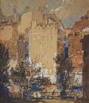 Sale 8929 - Lot 556 - Tom Garrett (1879 - 1952) - City Buildings (View from the Park) 23 x 20 cm
