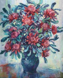 Sale 9143A - Lot 5005 - KARLIS MEDNIS (1910 - 1999) - Waratahs, c1991 101 x 81 cm (frame 119 x 99 x 6 cm)