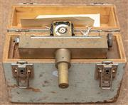 Sale 8984W - Lot 539 - A heavy gauge brass surveyors measure in a fitted grey painted timber case. Width 21cm