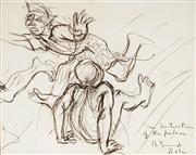 Sale 9021 - Lot 548 - Donald Friend (1915 - 1989) - Destruction of the Palace 14.5 x 18.5 cm (frame: 40 x 42 x 2 cm)