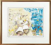 Sale 9023H - Lot 68 - WILLIAM FRANCIS ROBINSON,Summer Self Portrait # 2 Lithograph ed.81/100 Signed dated LR 2004 image size -48 x 57cm in a gilt frame...