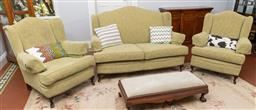 Sale 9256H - Lot 60 - A three piece Georgian style lounge suite with camel back sofa H 103cm x W 150cm, two armchairs, upholstered in pistachio floral mat...