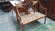 Sale 8375 - Lot 1041 - Late Victorian Mahogany Settee, with pierced & inlaid splats, upholstered in a floral fabric